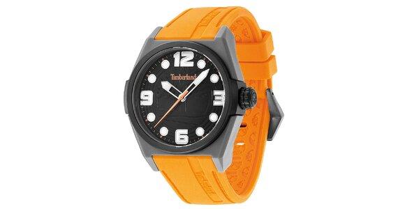 Pánske hodinky s oranžovým remienkom Timberland
