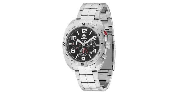 Pánske oceľové hodinky s čiernym ciferníkom Timberland