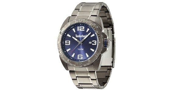 Pánske hodinky z nerezovej ocele s modrým ciferníkom Timberland
