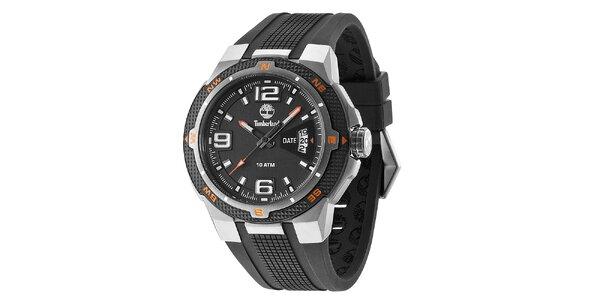 Pánske čierne hodinky so silikónovým remienkom Timberland
