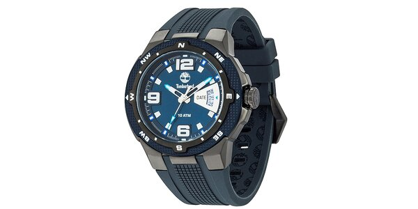Pánske modré hodinky so silikónovým remienkom Timberland
