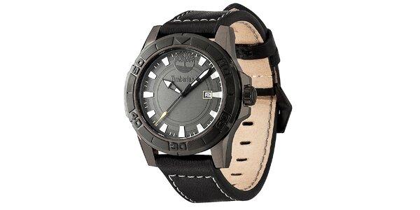 Pánske čierne oceľové hodinky s koženým prešívaným remienkom Timberland