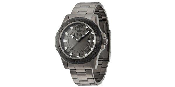 Pánske tmavé oceľové hodinky Timberland