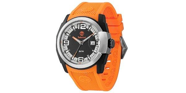 Pánske hodinky s oranžovým gumovým remienkom Timberland