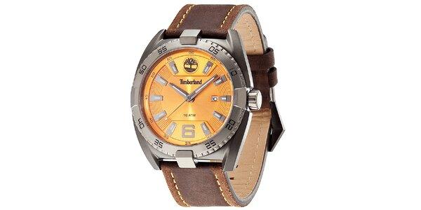 Pánske elegantné hodinky z ocele s koženým remienkom Timberland