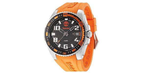 Pánske oceľové hodinky s oranžovým gumovým remienkom Timberland