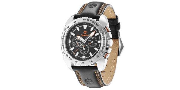 Pánske hodinky s čiernym koženým remienkom Timberland
