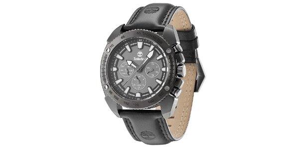 Pánske čierne oceľové hodinky s koženým remienkom Timberland