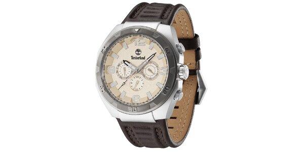 Pánske hodinky z ocele s koženým hnedým remienkom Timberland