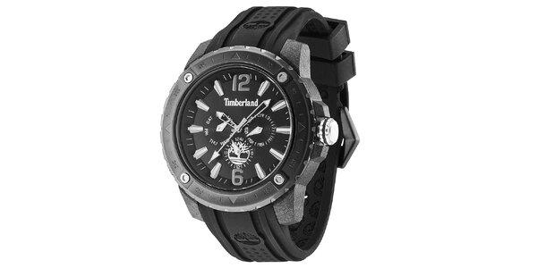 Pánske hodinky s čiernym gumovým remienkom Timberland