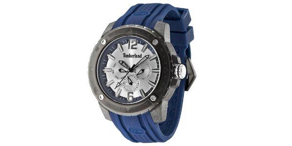 Pánske oceľové hodinky s modrým remienkom Timberland