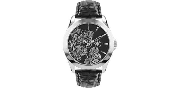 RFS dámske hodinky Lace čierne so strieborným ornamentom