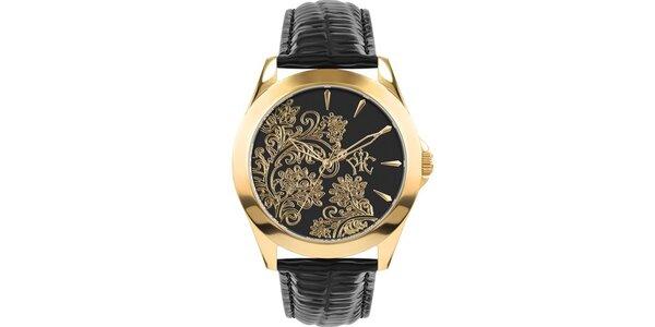 RFS dámske hodinky Lace čiernej so zlatým ornamentom