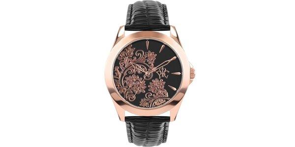 RFS dámske hodinky Lace čierne s medeným ornamentom