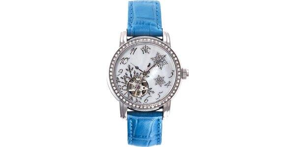 RFS dámske hodinky Russian Winter modré so zlatým ornamentom
