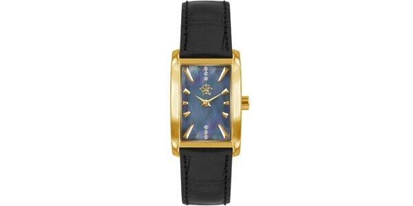 RFS dámske hodinky Prima s čiernym remienkom a ciferníkom zlatej farby