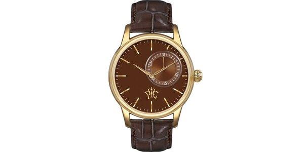 Pánske hodinky Premier hnedé, s dátumom