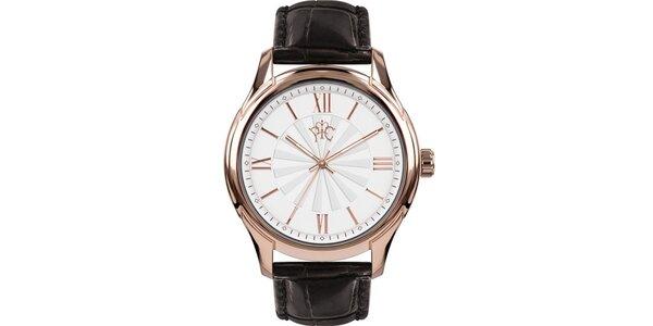 Pánske hodinky Casino čierne s ružovozlatým ciferníkom