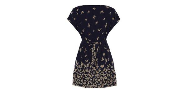 Dámske tmavo modré šaty s vtáčikmi Uttam Boutique