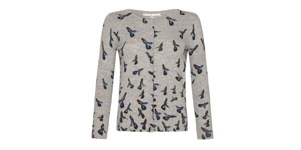 Dámsky šedý svetrík s farebnými kolibríkmi a gombíkmi Uttam Boutique