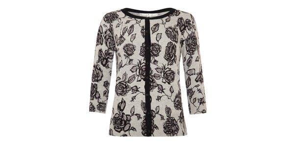 Dámsky šedý svetrík s ružičkami a zapínaním na gombíkmi Uttam Boutique