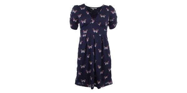 Dámske tmavo modré šaty s motýlikmi Uttam Boutique