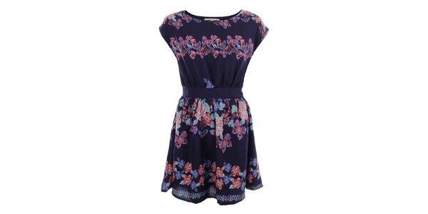 Dámske tmavo modré šaty s farebnými kvetmi Uttam Boutique
