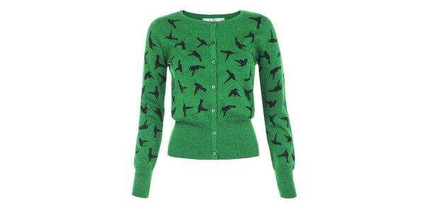 Dámsky zelený svetrík s kolibríkmi Uttam Boutique