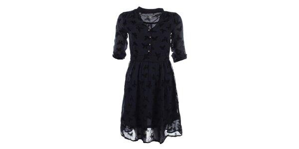 Dámske tmavo modré šaty s potlačou motýľov Uttam Boutique