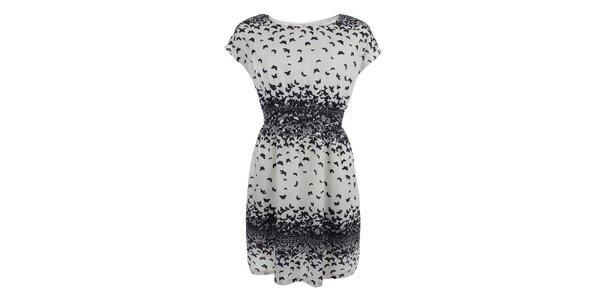 Dámske svetlo béžové šaty s motýlikmi Uttam Boutique