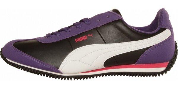 Dámske čierno-fialové tenisky Puma s bielymi detailami