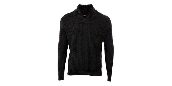 Pánsky tmavo šedý sveter s vrkočovým vzorom Pieto Filipi