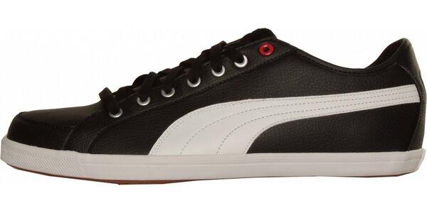 Pánske čierne tenisky Puma s bielym pruhom