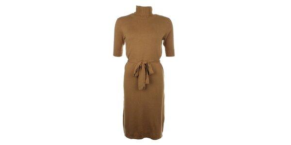 Dámske svetlo hnedé šaty s rolákom Pietro Filipi