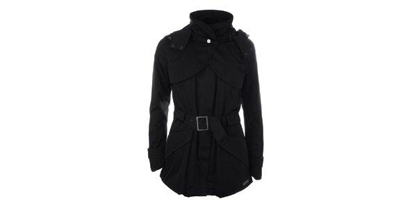 Dámska čierna bunda s opaskom a kapucňou Pietro Filipi