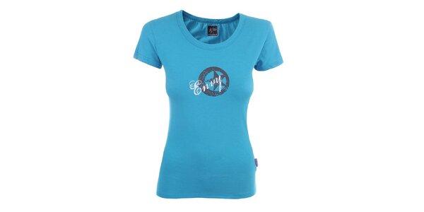 Dámske svetlo modré tričko s potlačou Envy