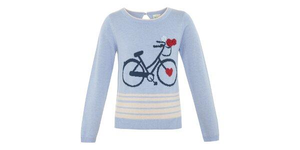 Dievčenský bledemodrý svetrík s bicyklom Yumi