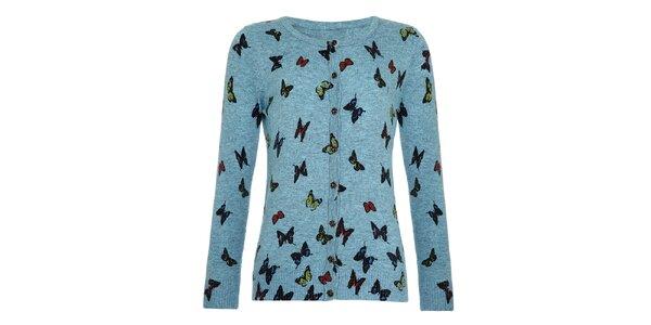 Dievčenský modrý svetrík s motýľmi Yumi
