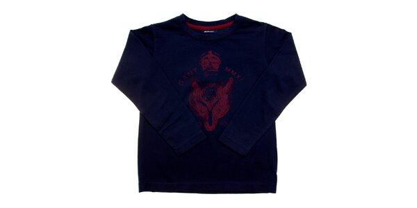 Detské tmavo modré tričko Gant s červenou potlačou