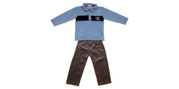 Kojenecká súprava Lullaby - modré polo tričko a menčestráky