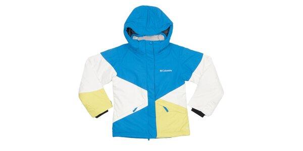 Detská modro-bielo-žltá bunda Columbia s membránou