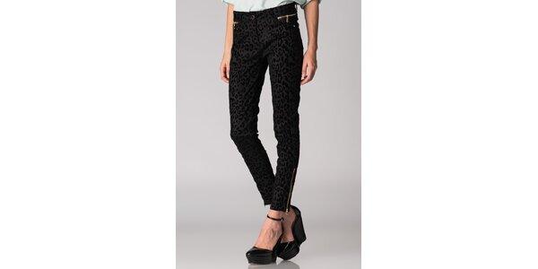 Dámske čierne leopardie nohavice Soap Art so zlatými zipsami