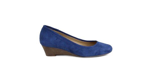Dámske modré semišové topánky na kline Made In