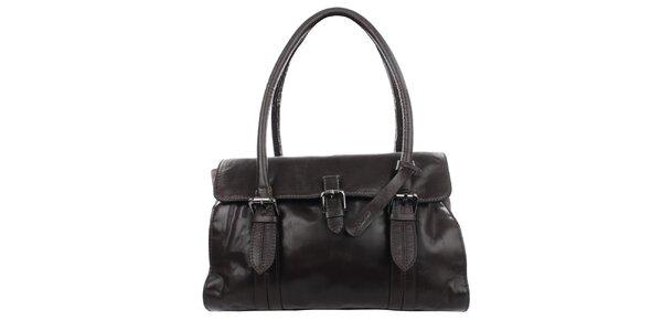 Dámska tmavo hnedá kožená kabelka Clarks