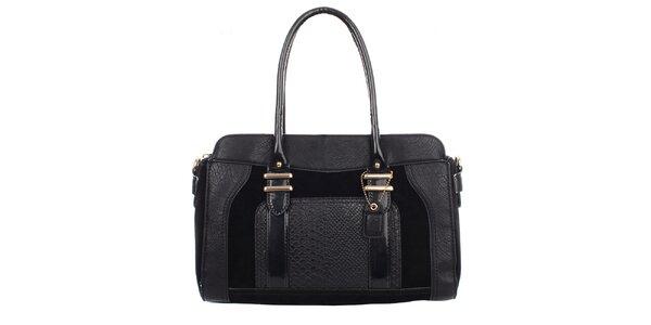 Dámska čierna kabelka s červenou podšívkou Clarks