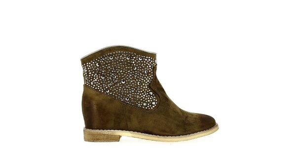 Dámske hnedé topánky s dekoratívnymi kamienkami Shoes and the City