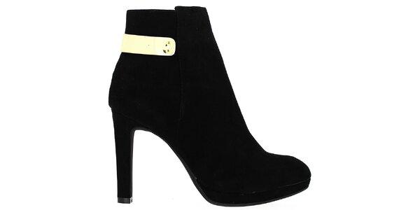 Dámske čierne topánky so zlatým plieškom Shoes and the City
