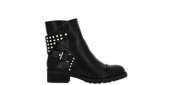 Dámske čierne členkové topánky s cvočkami Vanessa Wu