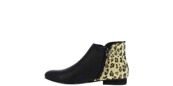 Dámske čierne členkové topánky s leoparďou pätou Vanessa Wu