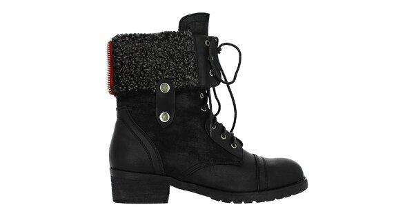 Dámske vysoké čierne šnurovacie topánky Shoes and the City